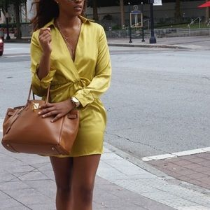 prettylittlething yellow collar dress